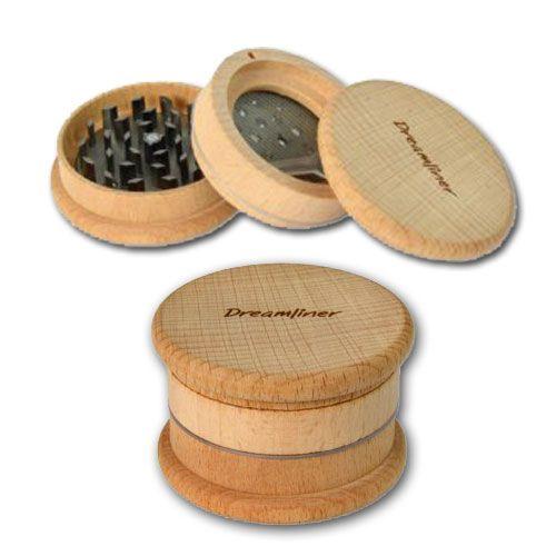 Grinder aus Holz mit Sieb