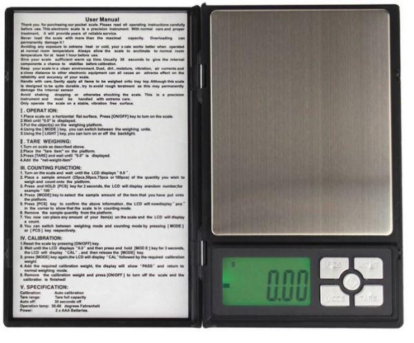 Digitale Taschenwaage bis 200g mit 0,01g